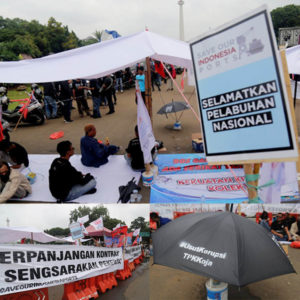 JICT Dockers Rally Action in Front of President Palace