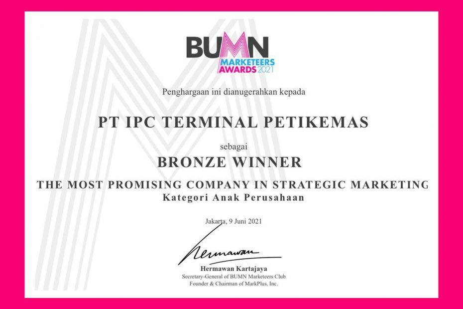 IPC TPK Dapat Penghargaan di Ajang BUMN Merketeers Award 2021